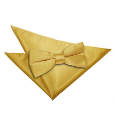 DQT Satin Plain Solid Gold Mens Pre-Tied Bow Tie Hanky Wedding Set
