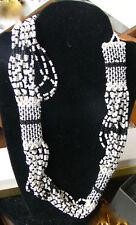 Fatto a Mano Vintage Nero Bianco Grani Vetro Collana con Perline 15 File