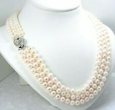 "AA 6-6.5MM Triple Strand White Akoya Pearl Necklace; Silver Clasp; 16""+17""+18"""