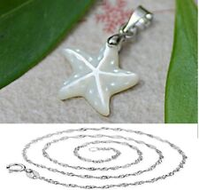 "3D 925 Sterling Silver Starfish Mother of Pearl Pendant Necklace18"" Chain Gift"