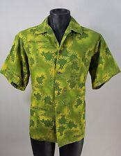 "Vintage ""Made In Hawaii"" Pineapple Hawaiian Shirt  60'S Green Yellow Aloha Shirt"