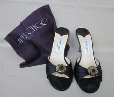 JIMMY CHOO London Black Satin Pump Gold Detail Slip-on Euro 38 M/US 6.5 M Lovely