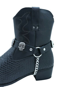 Biker Men Western Boot Pair Black Faux Leather 2 Straps Silver Skull Charms Goth