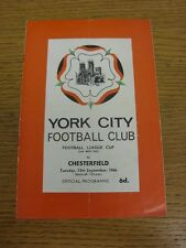 13/09/1966 York City V CHESTERFIELD FOOTBALL LEAGUE CUP [] (piegati, piegato, scor