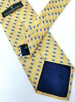 Ermenegildo Zegna Italian Luxury Yellow Gold Blue Geometric Jacquard Silk Tie