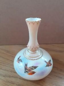 Lovely Blush Ivory Hand Painted Robin Bud Vase