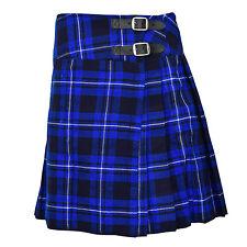 """Ladies Knee Length Blue Tartan Kilt Skirt 20"""" Length Tartan Pleated"""