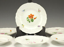 6pc Set Porcelain Dessert Dishes Meissen Hand painted Floral Botanical Design