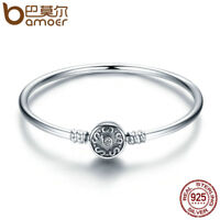 Bamoer 100% .925 Sterling Silver Retro Clasp Bangle Bracelet For Women Jewelry