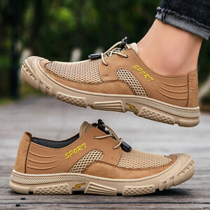 Mens Casual Lace Up Soft Flats Comfy Breathable Driving Moccasins Sports Shoes