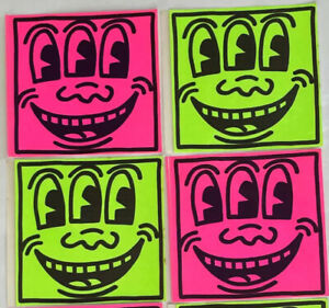 """Keith HARING 4 """"Three-Eyed Face"""" Original Pop Art / Shop Stickers-VIBRANT COLORS"""