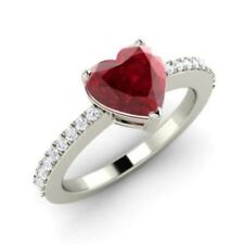 Pave 2.30 Cts Natural Diamonds Heart Ruby Engagement Ring In Certified 18K Gold