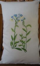 PAIR OF EMBROIDERED CUSHION COVERS WITH FORGET ME NOT DESIGN