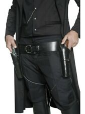Double Holster And Gun Belt Cowboy Costume Western Sheriff 2 Faux Leather Black