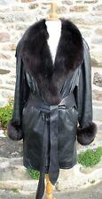 VESTE - MANTEAU 3/4 100 % cuir souple noire col fourrure Taille 44-46 ? TBE