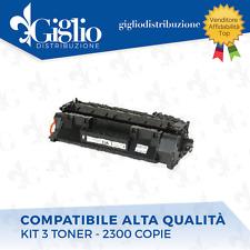 3 TONER HP P2030 P2035 P2050 P2055D/N/X CANON LBP 6300DN CE505A BK COMPATIBILE