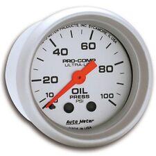"Auto Meter 4321 Gauge; Oil Pressure; 2 1/16""; 100psi; Mechanical; Ultra-Lite"