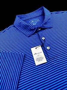 Peter Millar Seaside Wash Polo Aqua Cotton Striped Shirt Blue Mens L 2XL $95
