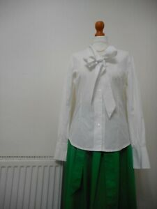 Saville Row White Cotton Shirt Pussy Bow Blouse Size 12 RRP:  £65.00