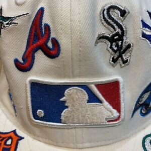 Mens Fitted New Era 59 Fifty Baseball Cap All MLB Teams Patches White Size 7 1/8