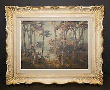 Landscape Oil Painting On Board In Gorgeous Carved Gild Highlite Frame - Listed