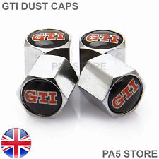 GTI Chrome Valve Dust Caps - Tyre Valve Caps Universal Car Van BikeTruck UK