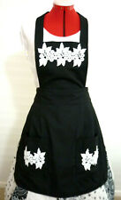 FULL APRON~BLACK~ WHITE APPLIQUES~KITCHEN~RESTAURANT~PARTY~GIFT~COOKING~HOME~