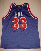 Detroit Pistons Grant Hill #33 HOF NBA Champion 90s Vintage Blue Red Jersey 48