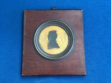 Rare Antique Folk Art Hand Carved Framed Silhouette of a Man Reverse Painted