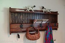 "35"" Handcrafted Coat Rack, Wood Mail Key Organizer, Wall, 5 Coat Hooks, Chestnut"