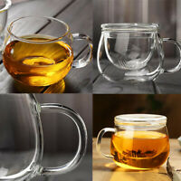 350ml Heat Resistant Thicken Clear Glass Tea Cup Herbal Mug with Infuser Tea Set