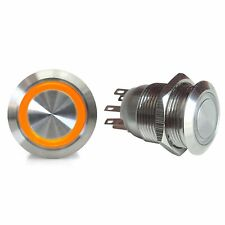 19mm Momentary Billet Button with LED Orange Ring SW42O street custom