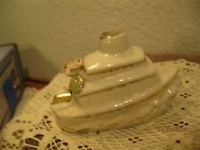 Vintage -Boat Shaped -  Personnel - Ash Tray -  Porcelain - White with Gold Trim