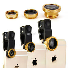 3 in1 Fish Eye+Wide Angle+Macro Camera Clip-on Lens for iPhone 8 7 Samsung HTC