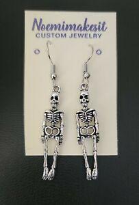 Halloween Skeleton Metal Earrings