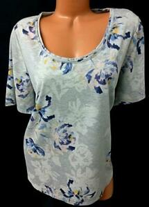 Maurices gray floral print scoop neck spandex stretch short sleeve top 1 , 1X