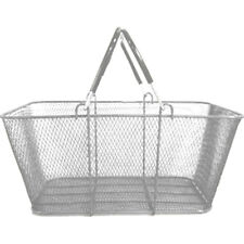 Shopping Basket Wire Mesh Vinyl Handles Market Gift Store Silver Lot of 12 New