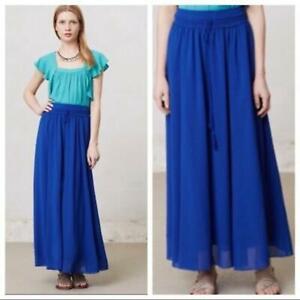 Anthropologie MAEVE Royal Blue Chiffon Drawstring Tassel Long Flowy Maxi Skirt S