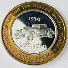 New Listing2001 G Imperial Palace Casino .999 Silver Strike $10 1930 L-29 Cord Token 3Ip108