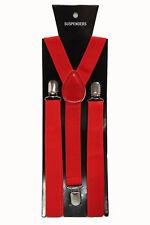 Red Adjustable Braces Suspenders Mens Women Fancy Dress Clip On Slim 2.5