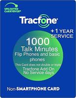 TracFone 1000 Talk Minutes + 1 Year Service Refill Card Basic Phones Flip Phones