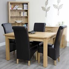 Arden solid oak furniture extending dining table and four brown chairs set