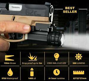 LED Flashlight Torch Tactical Gun Light Picatinny 20mm Glock 17 19 18C Pistol US