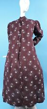 VICTORIAN 1890'S PRINT COTTON BUSTLE BACK WRAPPER DRESS W PUFF SLEEVES