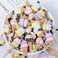 Random Matte Resin Ice Cream Cone Craft Cabochons Mixed Flatbacks Decors (10x)