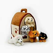 Five Stuffed Animal Dogs in Play Dog House Carrying House