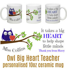 Owl Big Heart Teacher Personalised Tea/Coffee Ceramic Mug Thank You Teacher BLUE