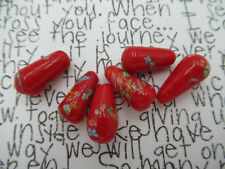 Vintage Glass Teardrop Beads Pear Beads Red Tombo Beads 15X9mm - From Japan