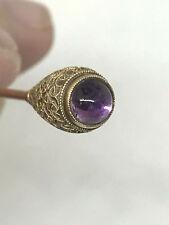 Gorgeous Antique 14K Etruscan Granulation Amethyst Hat Pin
