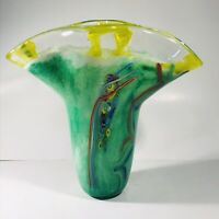"Vintage Murano Millefiori Large Mouth Studio Vase Green Yellow 12.25"" x 11.75"""